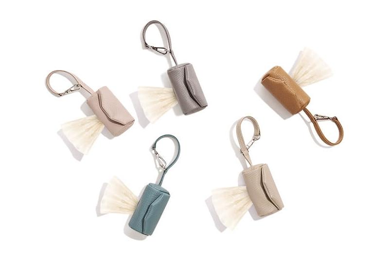 Eco-leather poop bag holder NINA - Steel grey