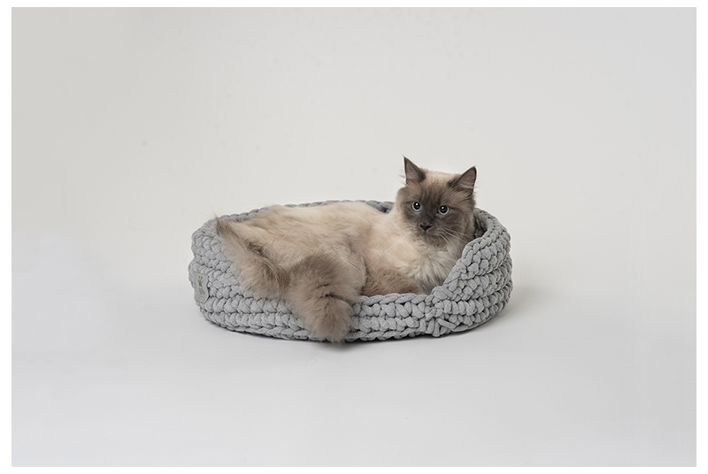 cat basket COTTON grey