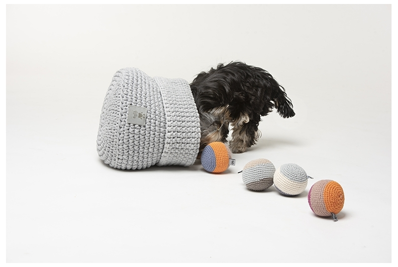dog toys basket CLASSIC light grey