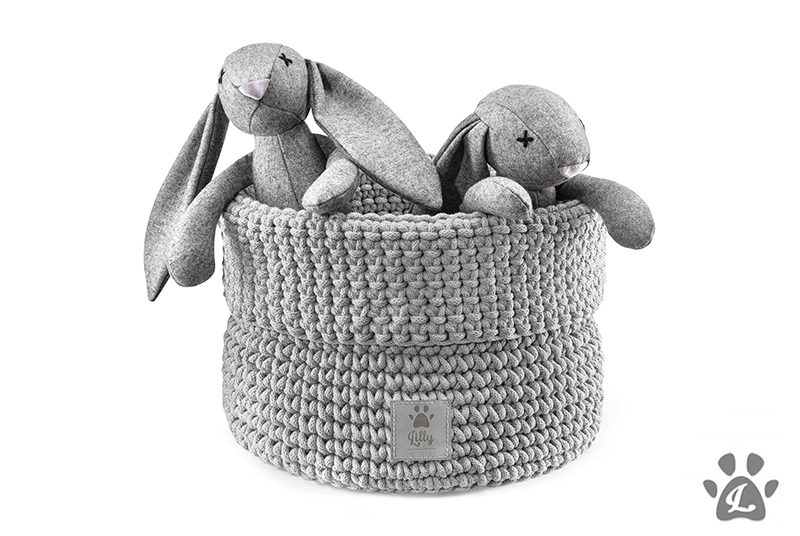 dog toys basket PLAYTIME light grey