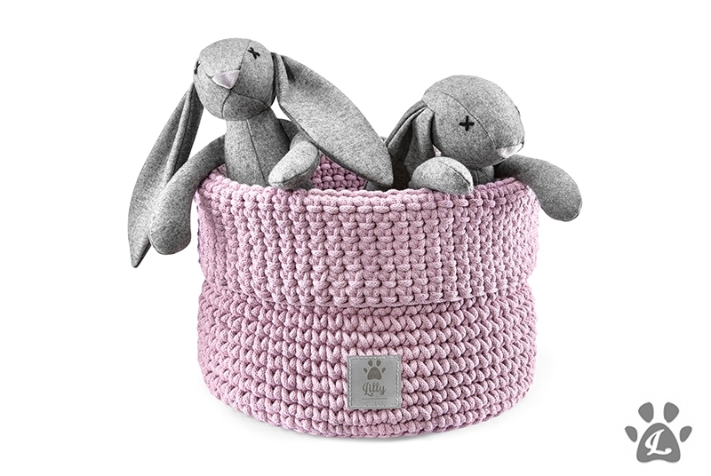 dog toys basket PLAYTIME dusty pink