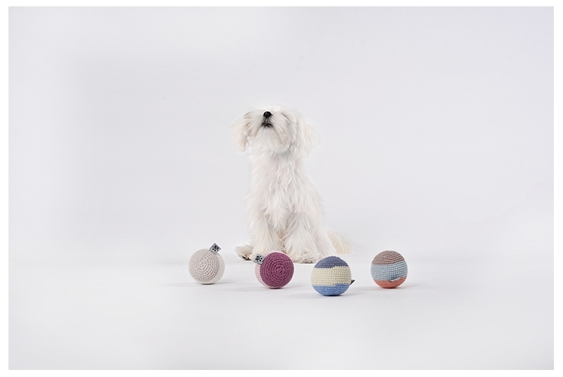 crochet dog ball RAINBOW blue