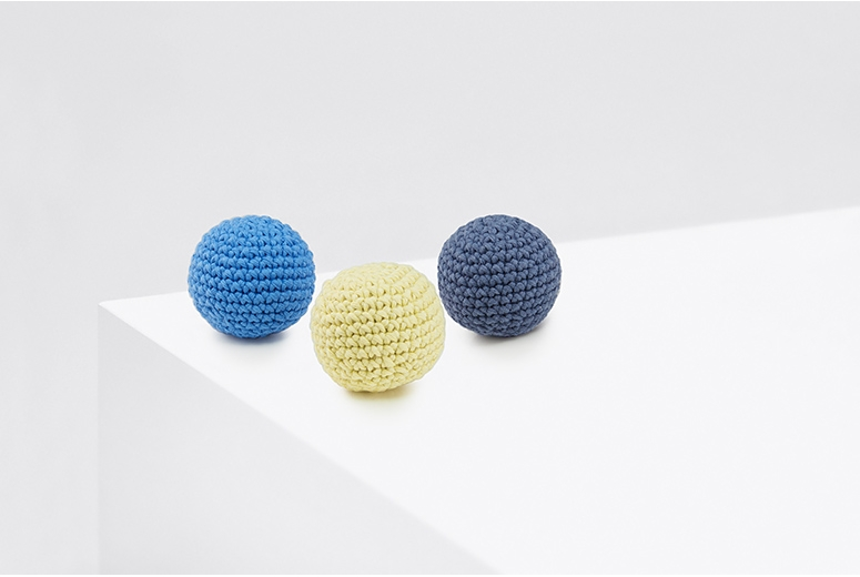 Crochet balls PING PONG lemon&blue