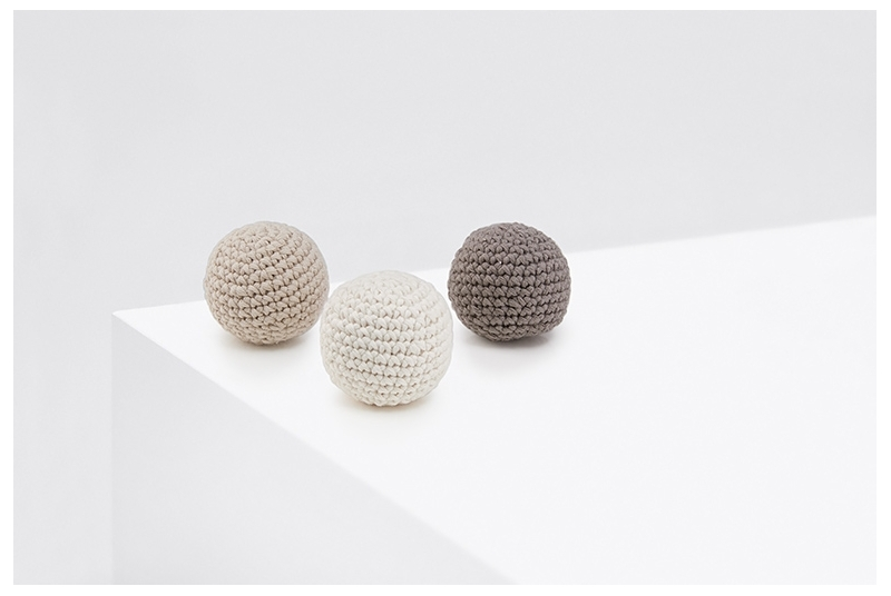 Crochet balls PING PONG beige
