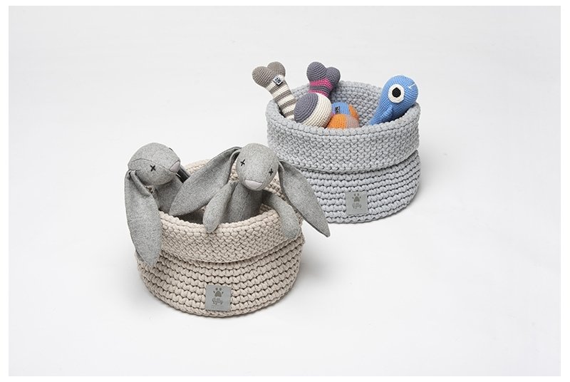 Kosz na zabawki PLAYTIME light grey *recycled cotton*