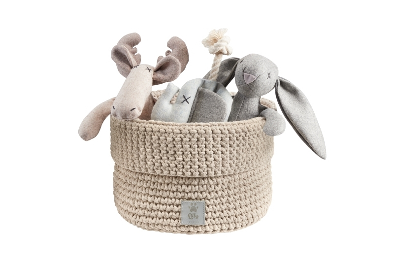 dog toys basket PLAYTIME sand beige